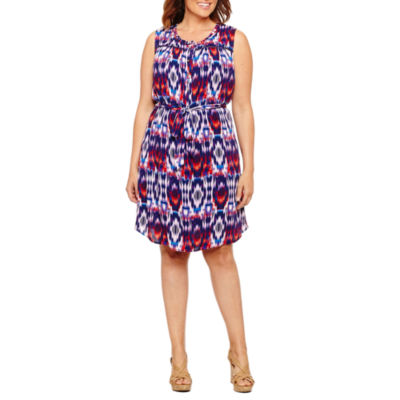 Liz Claiborne Sleeveless Woven Shirt Dress- Plus
