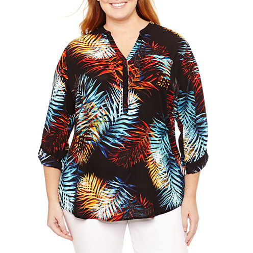 Worthington 3/4 Sleeve Button Front Woven Blouse-Plus