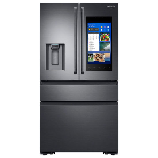 Samsung ENERGY STAR® Smart Wi-Fi Enabled 22.2 cu. ft. Counter-Depth Family Hub™ 4-Door French-Door Refrigerator with Polygon Handles