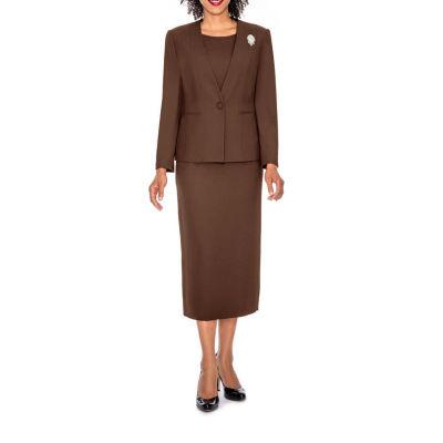 Giovanna Signature Women's 3-piece Microfiber Collarless Skirt Suit