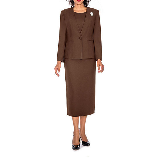 Giovanna Signature Women's 3-piece Microfiber Collarless Skirt Suit - Plus