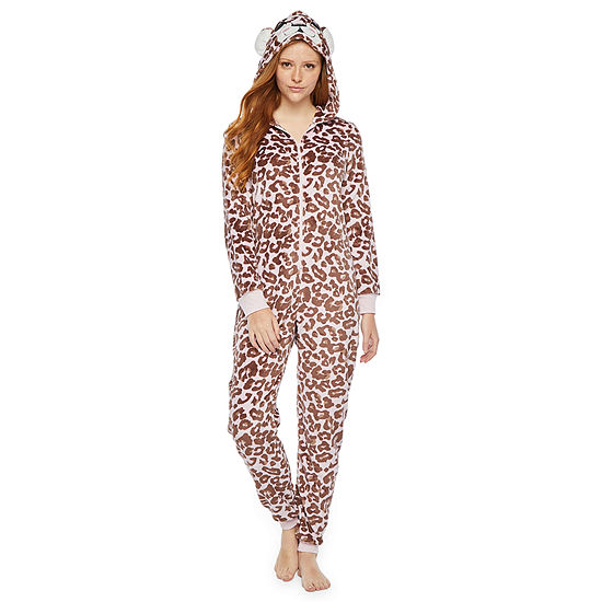 Mommy and Me White Leopard One Piece Pajama- Womens