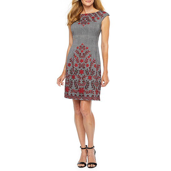London Style Short Sleeve Floral Sheath Dress