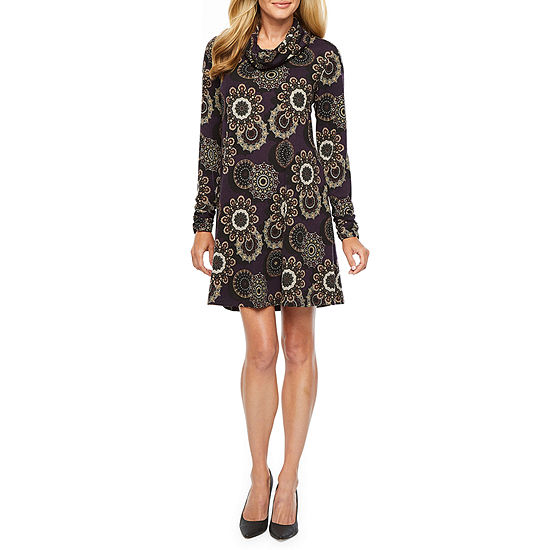 R & K Originals Long Sleeve Floral A-Line Dress