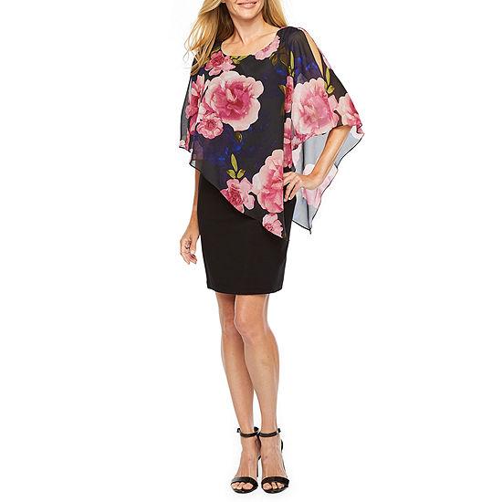 S. L. Fashions Short Sleeve Floral Sheath Dress