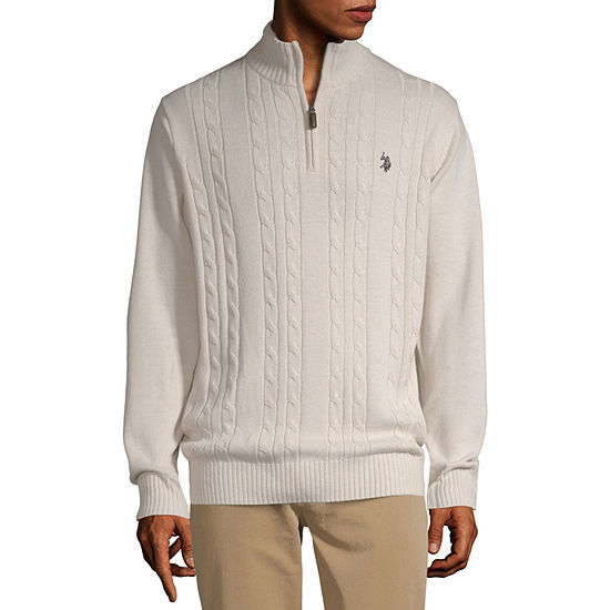 U.S. Polo Assn. Cable Quarter Zip Mock Neck Long Sleeve Pullover Sweater