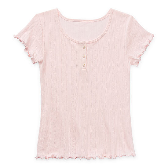 Arizona Ribbed Little & Big Girls Short Sleeve Henley Shirt