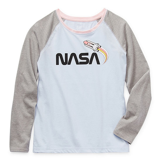 Arizona Little & Big Girls Round Neck Long Sleeve Graphic T-Shirt