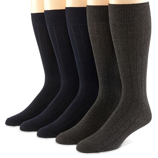 Dockers 5 Pk Ribbed Mens Socks