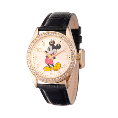 Disney Womens Gold Tone Glitz Mickey Mouse Strap Watch W002750