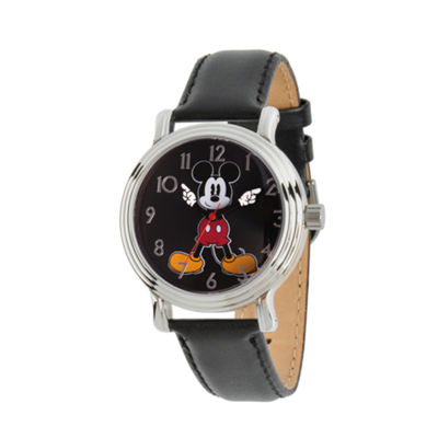 Disney Womens Black And Silver Tone Mickey Mouse Strap Watch W002757