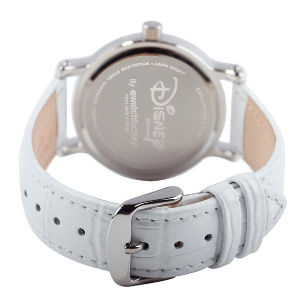 Disney Womens White And Silver Tone Vintage Minnie Mouse Strap Watch W002759