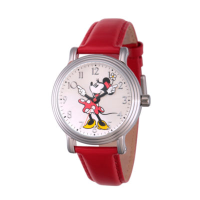 Disney Womens Red And Silver Tone Vintage Minnie Mouse Strap Watch W002760