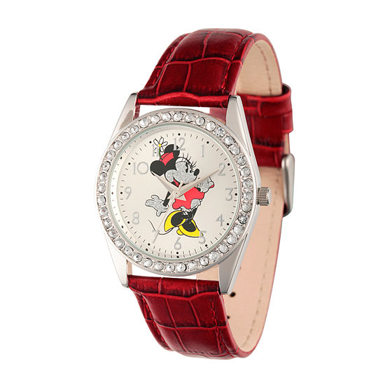 Disney Womens Red And Silver Tone Vintage Minnie Mouse Glitz Strap Watch W002762