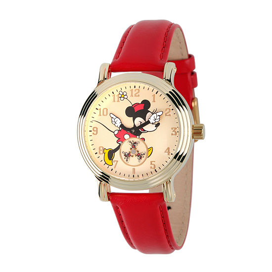 Disney Womens Red Vintage Alloy Minnie Mouse Leather Strap Watch W002767