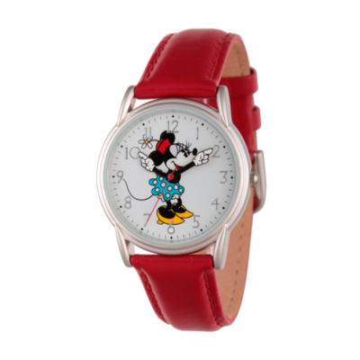 Disney Womens Red And Silver Tone Cardiff Alloy Minnie Mouse Strap Watch W002768