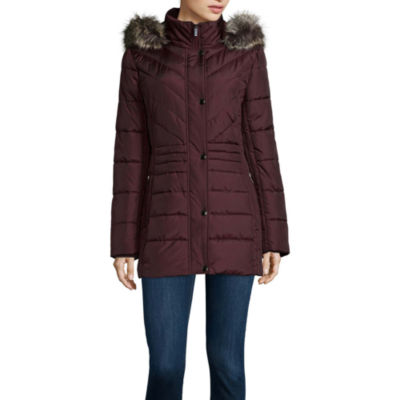 Liz Claiborne® Side Panel Puffer Jacket with Faux Fur Hood