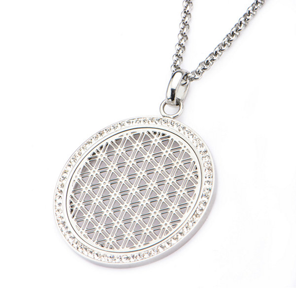 Stainless Steel Preciosa Crystal Rolo Chain Pendant Necklace