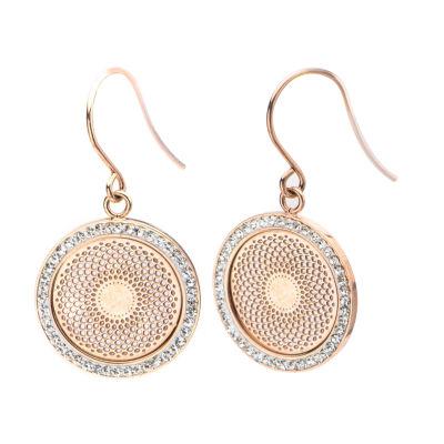 Rose Gold Ip Stainless Steel Preciosa Crystal Drop Earrings
