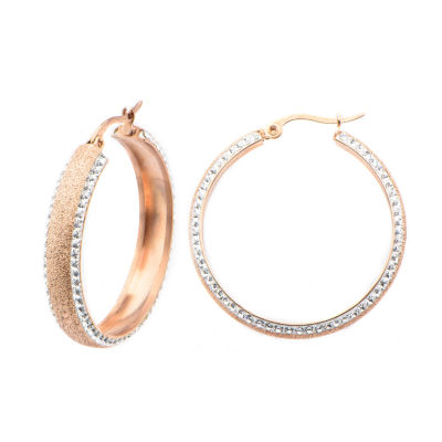 Rose Gold IP Stainless Steel Crystal Hoop Earrings