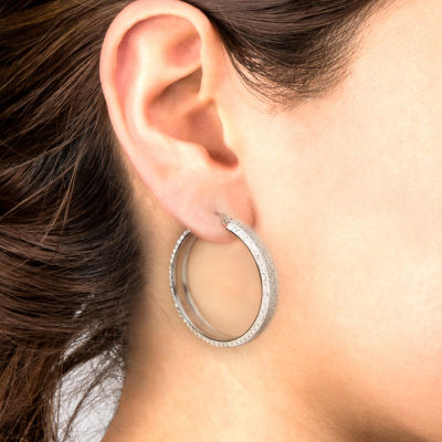 Stainless Steel Crystal Hoop Earrings