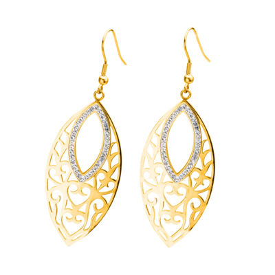 Yellow Gold IP Stainless Steel Crystal Marquis Drop Earrings