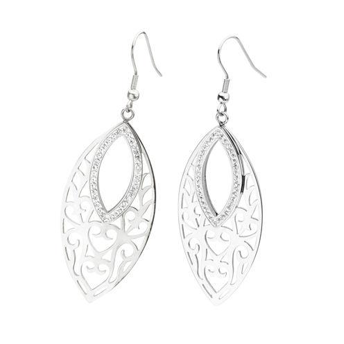 Stainless Steel Crystal Marquis Drop Earrings