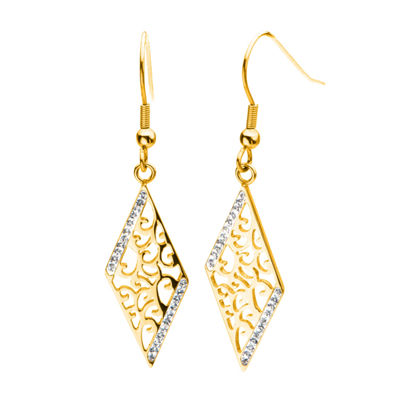 Yellow Gold IP Stainless Steel Crystal Rhombus Drop Earrings