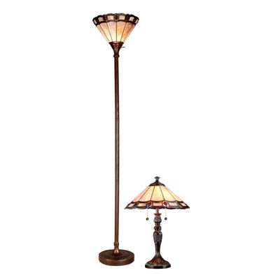 Dale Tiffany 2 Pc Peacock Torchiere Floor Table Lamp Set Jcpenney
