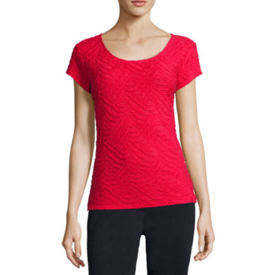 Liz Claiborne® Short-Sleeve Textured Knit T-Shirt