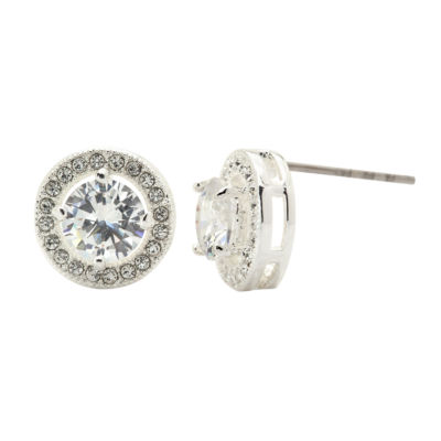 Sparkle Allure Round Clear Silver Over Brass Stud Earrings