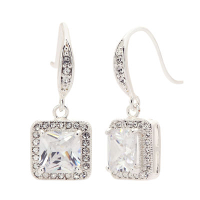Sparkle Allure Princess Clear Silver Over Brass Stud Earrings