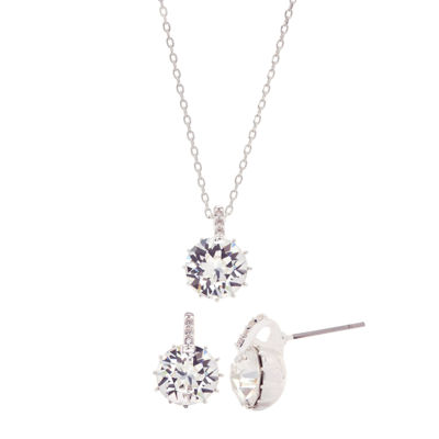 Sparkle Allure Womens Clear Silver Over Brass Jewelry Set