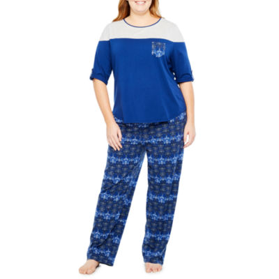 Liz Claiborne Colorblock.Pant Pajama Set-Plus