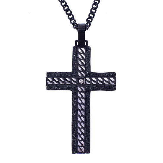 Mens Cubic Zirconia Stainless Steel Cross Pendant Necklace