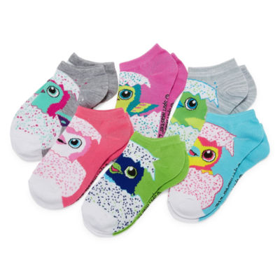 Hatchimals Girls 6 Pair No Show Socks-Big Kid