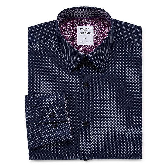 Society Of Threads Mens Long Sleeve Dots Button-Down Shirt