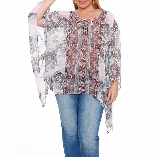 White Mark-Plus Breeze Womens V Neck 3/4 Sleeve Tunic Top