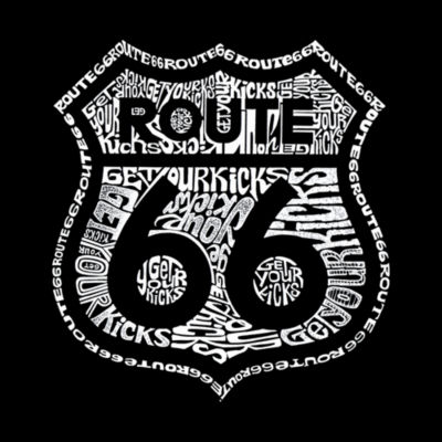 Los Angeles Pop Art Get Your Kicks On Route 66 Women's Long Sleeve Word Art Graphic T-Shirt