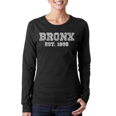 Los Angeles Pop Art Popular Neighborhoods In Bronx  Ny Long Sleeve Graphic T-Shirt