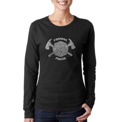 Los Angeles Pop Art Fireman's Prayer Women's LongSleeve Word Art Graphic T-Shirt