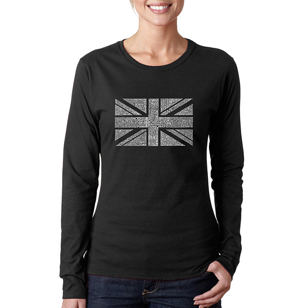 Los Angeles Pop Art Union Jack Women's Long SleeveWord Art Graphic T-Shirt