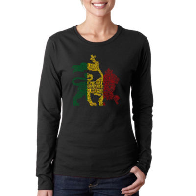 Los Angeles Pop Art Rasta Lion - One Love Long Sleeve Graphic T-Shirt
