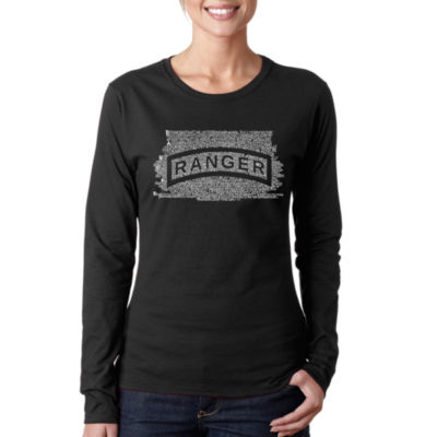 Los Angeles Pop Art The Us Ranger Creed Women's Long Sleeve Word Art Graphic T-Shirt