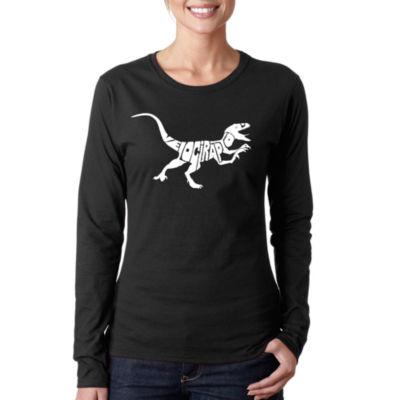Los Angeles Pop Art Velociraptor Long Sleeve Graphic T-Shirt
