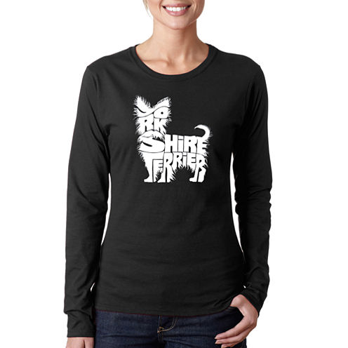 Los Angeles Pop Art Yorkie Long Sleeve Graphic T-Shirt
