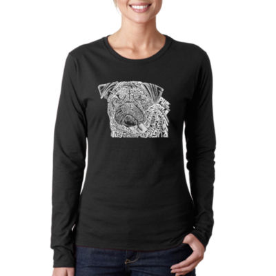 Los Angeles Pop Art Pug Face Long Sleeve Graphic T-Shirt