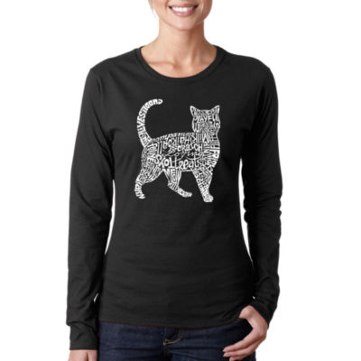 Los Angeles Pop Art Cat Women's Long Sleeve Word Art Graphic T-Shirt