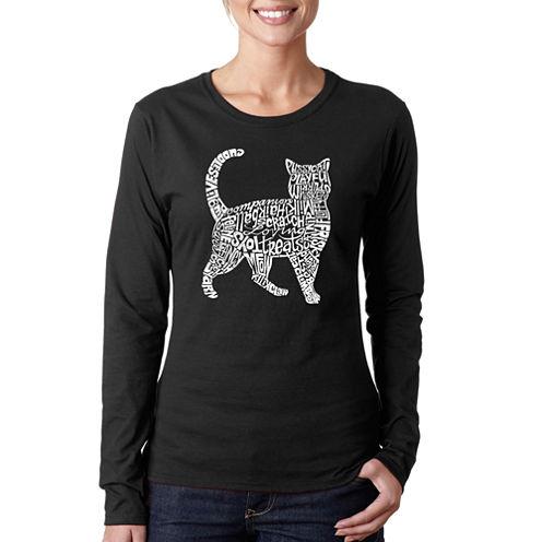 Los Angeles Pop Art Cat Long Sleeve Graphic T-Shirt