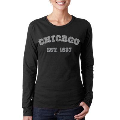 Los Angeles Pop Art Chicago 1837 Women's Long Sleeve Word Art Graphic T-Shirt